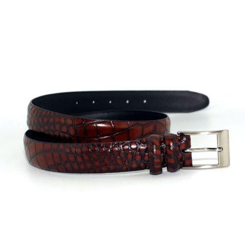 """2901-TAN - Marco LTD Mens Croco Embossed Genuine Leather Dress Belt Big & Tall 56(fits 54"""" waist)"""
