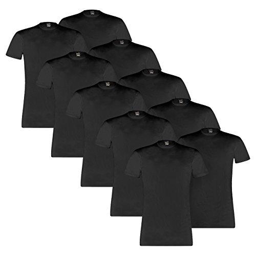 PUMA Herren Basic Crew Shirt - 5x2 Shirts (10er Pack) black (200)