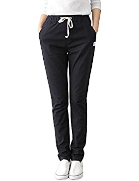 Mujer Casual Con Cordón Pantalones Oficina Deportivos Slim Fit Elegantes Bolsillos