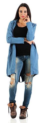 Mr. Shine® �?Damen Fashion Cardigan Lose Oberteil Mantel Pullover mit Druck S-XXXL Übergrößen Jeans Blau
