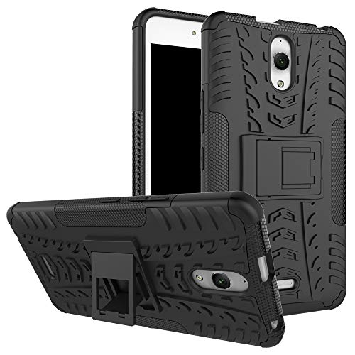 pinlu® Etui Schutzhülle Für Alcatel pixi 4 (6.0 Zoll) 3G Version Handyhülle Hybrid Dual Layer Case TPU + PC Kombination Fall Stoßfest mit Stand-Funktion Reifen Muster Schwarz