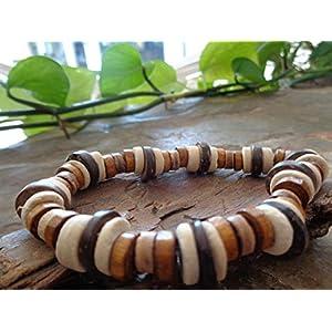 ✿ KOKOS ETHNO ARMBAND IN NATURFARBEN ✿ einmaliges Naturarmband, Kokosnussscheiben, Holzscheiben, dehnbar, unisex…