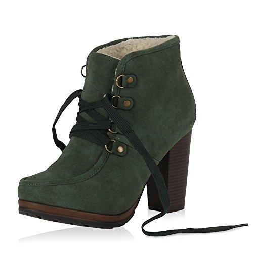 Damen Stiefeletten Blockabsatz High Heels Schnürboots Schuhe 30074 Grün 40 | Flandell® (Kostüme High Heels)
