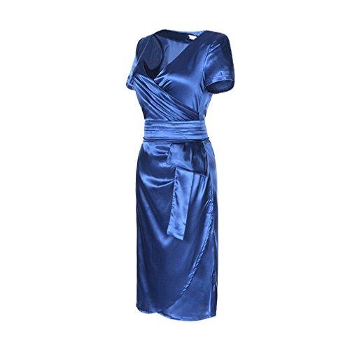 La vogue Damen V-Ausschnitt Bleistiftkleid Elegante Seidekleid Hellblau ...