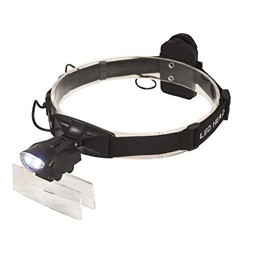 Mufly LED Lupenbrille Kopflupe mit Licht,Kopfbandlupe für Brillenträger, Lesen, Nähen, Handwerk, Juweliere, und Reparatur,1.0X/1.5X/2.0X/2.5X/3.5X,5 Linsen(Schwarz)