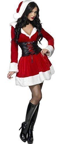 Damen Fieber mit Kapuze Santa Sexy Weihnachten Miss Fräulein Claus festlich Kostüm Kleid Outfit - Rot, 12-14 (Kostüm Claus Miss)