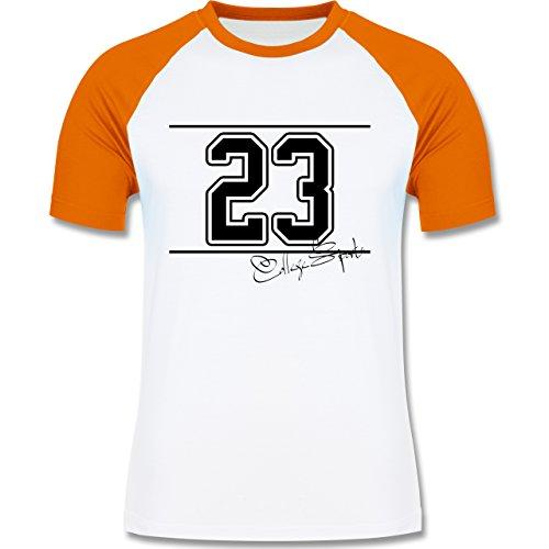 Basketball - College Sports Zahl Oldschool - zweifarbiges Baseballshirt für Männer Weiß/Orange