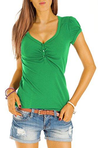 Bestyledberlin Damen T Shirt Oberteile Basic Top Shirt Stretch kurzarm mit Knöpfen t01p - S/36-38/M - Grün