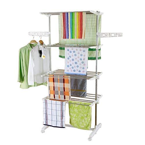 Style home Mobiler Wäscheständer Wäschetrockner-Turm Klappbar Standtrockner Kleiderstange Seitenflügel auf 4 Ebenen LxTxH: 80 x 13 x 178 cm (4 Ebenen)