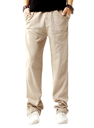 LILBETTER Mens Casual Beach Trousers Daily Look linen Soft Holiday Pants (Beige 2XL)