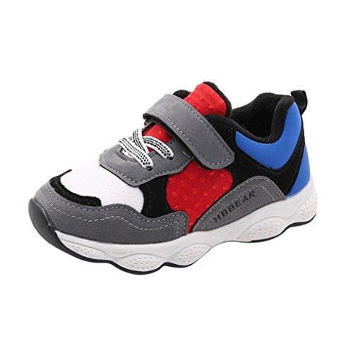 Patchwork Sneaker Kleinkind Kinder, DoraMe Baby Jungen Mädchen Leder Mesh Turnschuhe Anti-rutsch Sport Schuhe Klettverschluss Laufschuhe für 1-3.5 Jahr (2-2.5 Jahr/Size(CN):24, Grau) (Patchwork Indigo)
