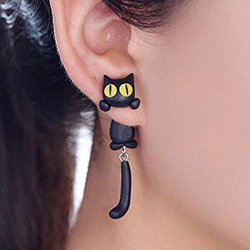 BigNoseDeer Katze Frauen-Bolzen-Ohrringschmucksachen, handgemachter Ohrring für Mensmädchen Kinder-Schwarzes -