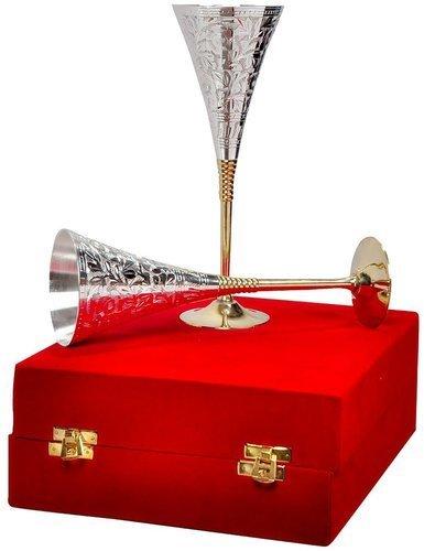 Garden of Arts Silberweinglas/Weinkelch 2er Set mit schöner roter Samtbox Verpackung Exklusives...
