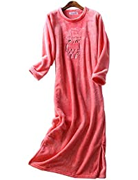 Mmllse Chemise De Nuit en Flanelle Extra Longue Femme Automne Hiver  Épaississement Pyjamas Robe À Manches c7b7833e3d5