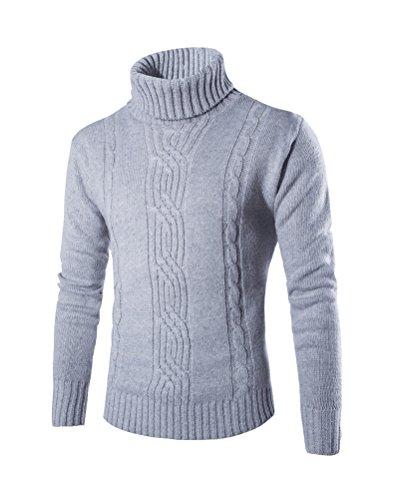 Herren Rollkragen Pullover Coole Warme Dicke Sweatshirt Hellgrau S (1/2-Ärmel-rollkragen)