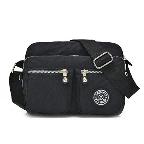 Tiny Chou - Borsa Messenger a tracolla, leggera e impermeabile, realizzata in nylon, con tasche Nero (nero)