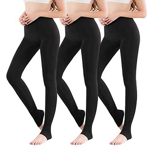 Vertvie 1/3/5er Pack Damen Thermo Strumpfhose Leggings mit Innenfleece für Herbst Winter Super Strech Warm Blickdichte Leggins (3 Schwarz, one Size)