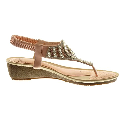 Angkorly Scarpe Moda Sandali Infradito Slip-On Cinturino Donna Strass Perla Tacco Zeppa 4.5 cm Rosa