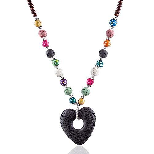 YANGDJ Halskette Halskette Verschmolzen Rock Perlen Schwarz Herzförmige Lange Halskette Damen Naturstein Halskette Schmuck Damen Halskette, A