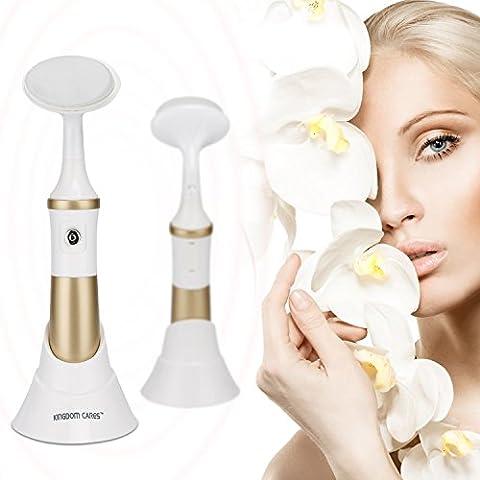 KINGDOMCARES Gesichtsreinigungsbürste 2-in-1 Gesichtsbürste Wasserdicht Elektrisch Gesichts-Massagegerät (Rosa) mit 3