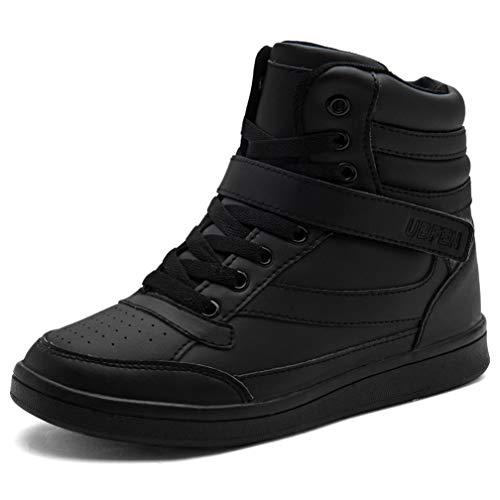 UBFEN Damen Sneaker Wedges Keilabsatz Schuhe High Top Stiefeletten Sportschuhe Klettverschluss Freizeitschuhe Turnschuhe Stiefel 39 EU Schwarz