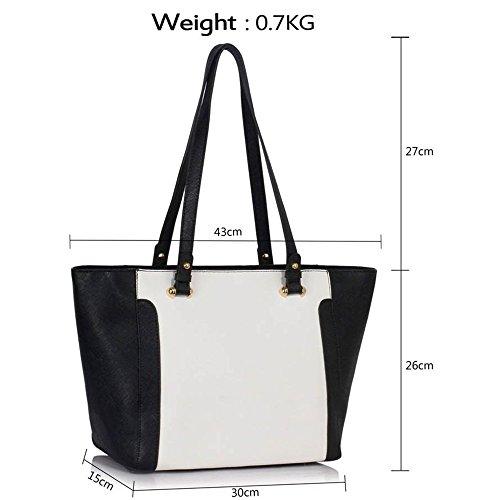 LeahWard® Große Größe Schultertaschen Zum Damen mode Berühmtheit Stil Damen Einkaufstasche Essener Tote Handtasche A4 350 Schwarz/Weiß Schultertasche