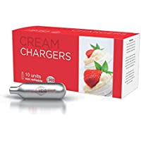 Impeccable ICON810 Culinary Objects Cream Chargers, Silver, 10-Piece
