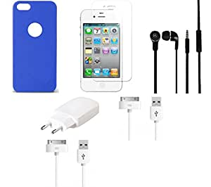 NIROSHA Tempered Glass Screen Guard Cover Case Charger Headphone USB Cable for Apple iPhone 6 - Combo