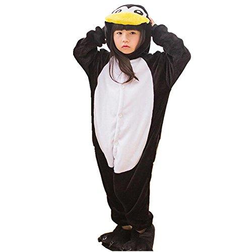 Katara 1830 Kinder Fleece-Pinguin Kostüm 2-9 Jahre mit süßer Tasche zum Umhängen-Gemütlicher Jumpsuit, 104/110/116 (CN 110), 2 (Die Mädchen Ideen Kostüm Schule Halloween Für)