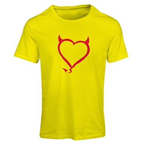 Frauen T-Shirt Teufel Herzen lustiges T-Shirt Geschenk Farben / Sizesblanc (Medium Gelb Rote) (Fitted T-shirt Abenteuer)
