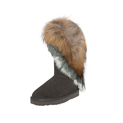 SKUTARI Damen Yeti Boots - Wildleder, Grau, Echtfellbesatz, Gefüttert, Farbton:Grau;Groesse:37 (Mukluk Damen)