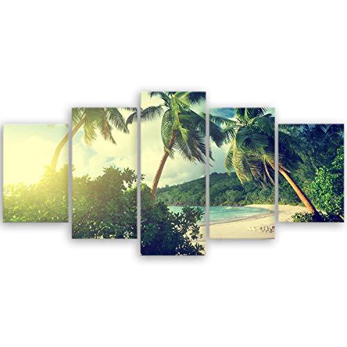ge Bildet® hochwertiges Leinwandbild - Sonnenuntergang am Strand Takamaka, Mahé - Seychellen - 100 x 50 cm mehrteilig (5 teilig)