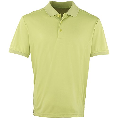 Premier Mens Coolchecker Pique Polo Shirt Lime