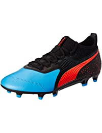 Puma Men's ONE 19.3 FG AG Bleu Azur-Red Blast-Black Football Boots-6 (10548601)