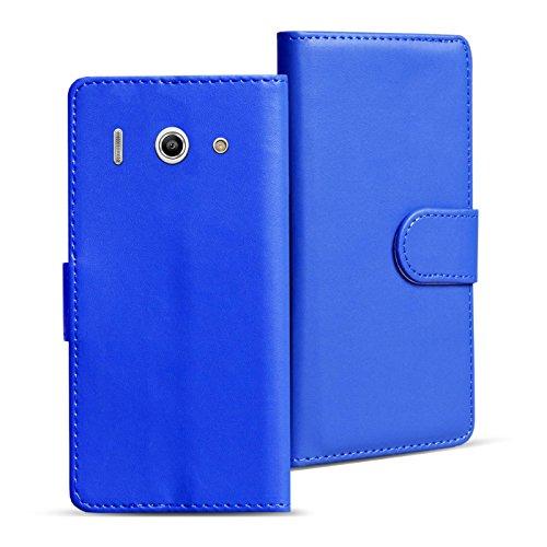 Verco Huawei Y300 Hülle, Handyhülle für Huawei Ascend Y300 Tasche PU Leder Flip Case Brieftasche - Blau