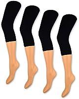 1 bis 4 Damen Capri Leggings Schwarz 150 DEN Blickdicht 3/4 Leggins - 89607 - Sockenkauf24