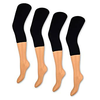 1 bis 4 Damen Capri Leggings Schwarz 150 DEN Blickdicht 3/4 Leggins - 89607 - Sockenkauf24 (L/XL = 42-46, 1 Stück - Schwarz)