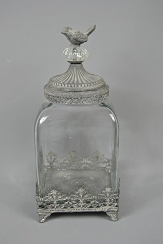 Vintage Style Little Bird Filligree Tall Glass Jar For The Bathroom Bedroom Or Even The Kitchen
