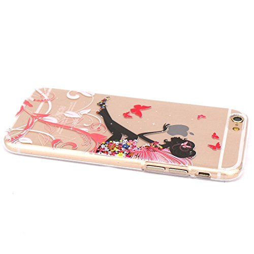 iPhone 6 / iPhone 6S Cover , YIGA Matrimonio Ragazza Rosa Papillon Trasparente Silicone Cristallo Morbido TPU Case Custodia per Apple iPhone 6 / iPhone 6S 4.7 Color-9A-49