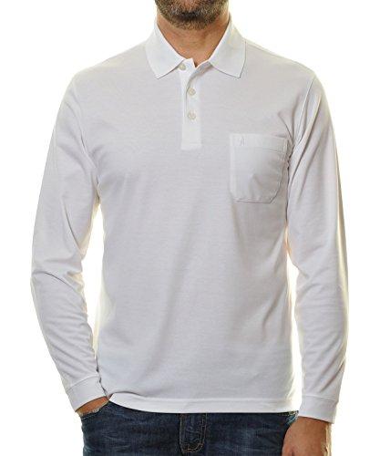 RAGMAN Herren RAGMAN langarm Poloshirt Softknit Weiß