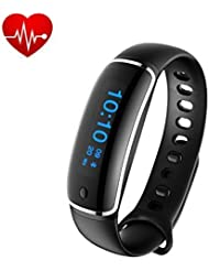 Smart Bracelet:Fitness Activity Tracker Heart Rate Blood Pressure Monitor Smart Wristband Waterproof Sport Watch with Pedometer Sleep Monitor for iPhone Android, Black