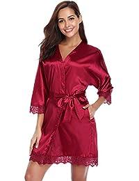 Aibrou Kimono Mujer Batas Cortos Pijama Lenceria de Aspecto Brillante
