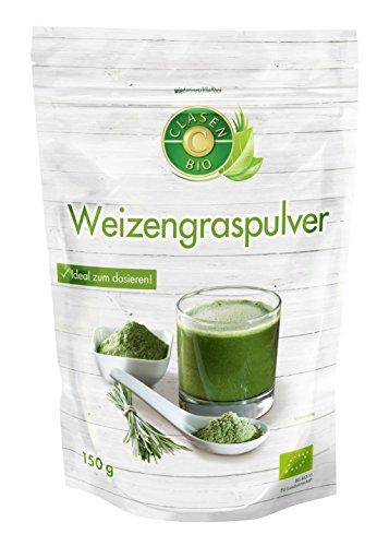 Clasen Bio Weizengraspulver 150 g - vegan, glutenfrei, biologisch hergestellt, im wiederverschließbaren Beutel, Superfood Pulver (Bio-gras)