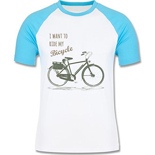 Vintage - I want to ride my bicyle - zweifarbiges Baseballshirt für Männer Weiß/Türkis
