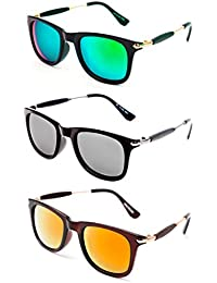 TheWhoop Super Combo UV Protected New Mirrored Green, Silver And Orange Wayfarer Sunglasses For Men, Women, Girls...