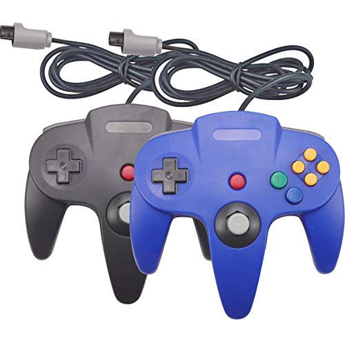 Joxde Joystick Classic Controller für N64 Gamepad Konsole, Schwarz und Blau, 2 Stück (Super Controller Nintendo 64)