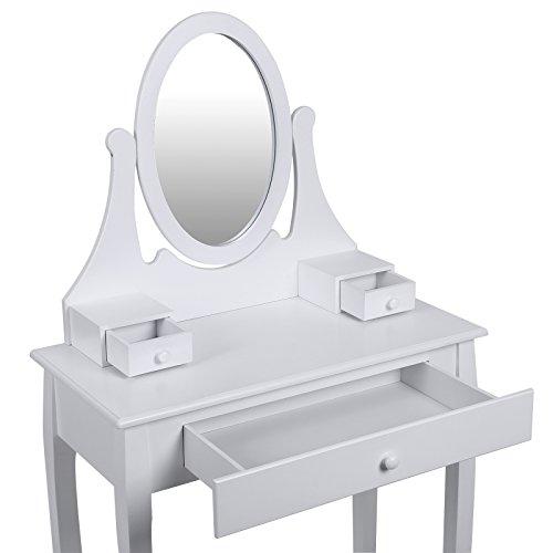Songmics® Schminktisch Frisierkommode Frisiertisch Kosmetiktisch mit Spiegel inkl. Hocker, weiß, Holz, RDT002 - 4