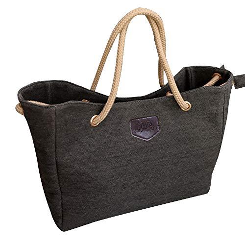 DENGZI Damen Handtasche Canvas Schultertasche Top Handle Bag Satchels Shopping Bag Crossbody Bags. Gr. Einheitsgröße, Schwarz - Handle Satchel Bag