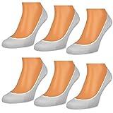 6 oder 12 Paar Damen Füßlinge Ballerina Socken Footies Baumwolle Schwarz Weiß Beige - 15500 (Weiß | 39-42 | 6 Paar)