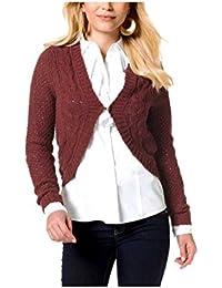 Vivien Caron Strickjacke Gr.S 36//38 NEU Rot Pullover 3//4-Arm mit Wolle Pulli